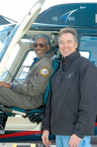 Academy Award winner Morgan Freeman took a ride in Jeff Puckett's Bell 206 LongRanger during a recent visit to Denver.