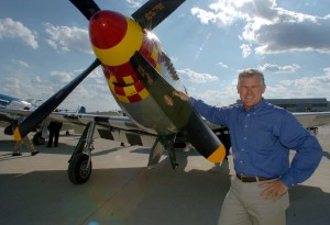 Lee Lauderback, beside Old Crow, is president and CEO of Stallion 51, which will host the Gathering of Mustangs and Legends next September, in conjunction with the National Aviation Hall of Fame and the Columbus Regional Airport Authority.