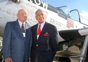 Maj. Gen. Don Strait (left) and Lt. Col. Lee Archer reminisce in front of Old Crow. One of the famed Tuskegee Airmen, Archer was credited with five aerial victories during WWII, all in the Mustang. Strait racked up 13.5 kills during the conflict.