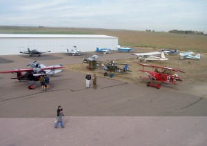 A wide variety of general aviation aircraft were on display on the ramp during the fly-in. The exhibit included WWI replica fighter aircraft, flown by a Vintage Aero Flying Museum pilot.