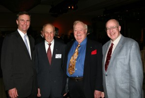 L to R: Ed Bolen, NAHF enshrinee Al Ueltschi (FlightSafety International founder), Joe Kittinger and Dr. Richard Hallion at a reception held the evening before the record-setting NBAA convention officially opened.