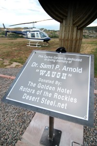 Upon hearing the news about the June passing of The Fort's founder, Sam. P. Arnold, Diana Burdette-Lincoln, coordinated the creation of a permanent memorial. Funded by the hotel and Rotors of the Rockies, the iron cactus memorial is located at the helipad