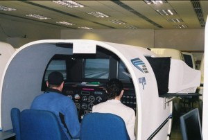 Students in the World Indoor Airport perform simulated twin-engine flight training.