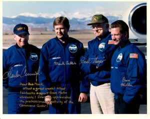 Bill Daniels and his crew are shown at Centennial Airport, after their record-breaking flight. Metro aviation students closely followed the flight.