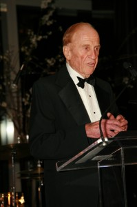 Al Ueltschi speaks at the Crystal Ball for Sight, after receiving the ORBIS Lifetime Achievement Award for his contributions to eliminate unnecessary blindness globally.