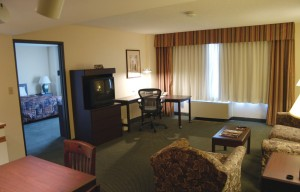 Hotel suites make great workspaces for business travelers.