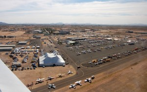 An aerial view of the Casa Grande Municipal Airport showed a full aircraft parking area.