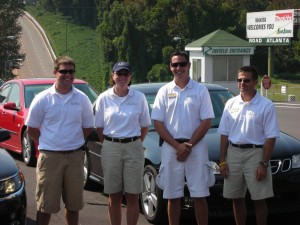 L to R: Sean Israel, Pattie Mayer, Ryan Eversley and Brian Cunningham are four of the 20 Saab instructors. All Aero Academy instructors are professional racing drivers.