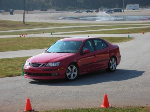 The instructor, in the right seat, assesses the student's slalom performance. The slalom course is a student favorite.