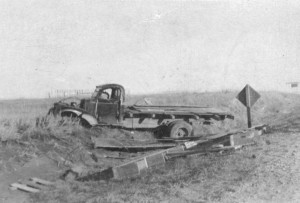 William Pauley was hauling German prisoners from the camp at Fort Meade to the beet fields near Vale, when this truck was involved in a wreck. Several POWs were injured in the crash that occurred four miles outside of Sturgis, on Oct. 17, 1945.