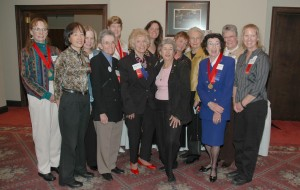 Ninety-Nines present included, L to R, front row: Mari Maruyama, Margot Plummer, Jane Nettleblad, Linda Horn, Lucile Bledsoe and Allison Preble. Back: Babette Andre, Chris Bentley, Emily Warner, Donna Miller, Bonita Ades, Anita Hessin and Sue Osborne.