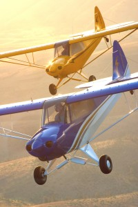 Both the Top Cub and the Sport Cub, made by CubCrafters, offer two paint styles: the traditional Cub yellow with the black lightning bolt, and a blue, white and gold scheme.