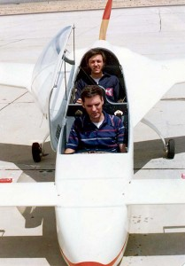 After retiring from the military, Lt. Col. Dick Rutan (front) went to work with his brother, Burt Rutan (backseat) at Rutan Aircraft Company, at Mojave Airport, as chief test pilot and production manager.