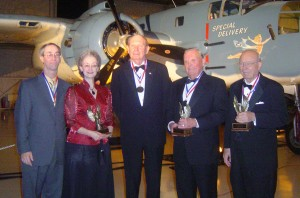 The Class of 2006 pause for a picture after the Hall of Fame induction. L to R: Charles Davis and Mary Margaret Patton (George A. Davis' children), John F. Bookout, Robert L. Waltrip and Edward Swearingen.