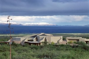 The Kartchner Caverns Visitor Center is located south of Benson, Ariz., at the base of the Whetstone Mountains (out of view).