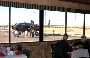 Patrons of Anzio Landing enjoy the restaurant's fine Italian cuisine and their front row seats to view the B-25.