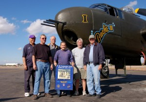 L to R: Ken Polzin, Jack Fedor, Bill Harris, Ray Snyder, Chris Clark and Sam Korth are some of the volunteers that keep the B-25 flying.