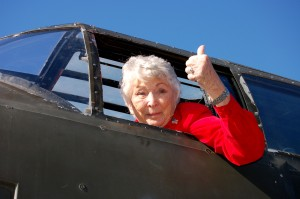 Charlotte Wiehrdt checked out the B-25 cockpit before taking a ride that was a gift from her grandchildren.