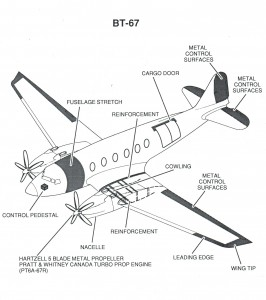 This line drawing of the BT-67 shows the external changes made to the old DC-3. Metal control surfaces replaced the old fabric surfaces, greatly reducing maintenance.