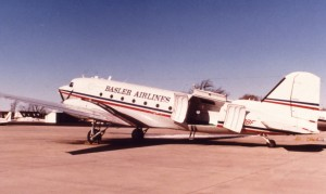 The clamshell cargo door is similar to one used on the C-47 version of the DC-3. Basler added an upper lip on the door that allows five LD3 containers to be loaded. FedEx and UPS use the LD3 containers.