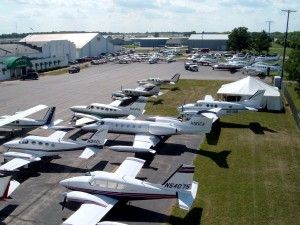This picture of the ramp at Basler Flight Service only hints at the volume of aircraft they handle. To the left and out of camera range are several dozen more airplanes.