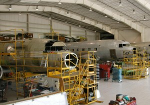 Basler built a $3 million, 75,000-square-foot modification facility adjacent to Wittman Regional Airport for his conversion work. Seen here are ships number 49 and 50 undergoing conversion.