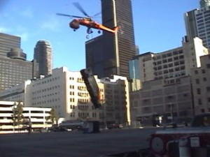 "Craig Hosking flies this Sikorsky S-64 Skycrane in ""Swordfish,"" lifting villain John Travolta's getaway bus over the streets of Los Angeles."