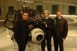 L to R: Brian J. Terwilliger poses with Andrew Stucker and Rick Harding of Sony, in front of an A-Star helicopter with a high-def Gyron camera mount.