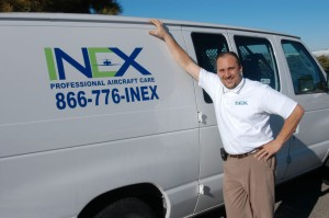 Marc Childs is general manager of INEX Professional Aircraft Care. The business specializes in aircraft detailing and is willing to bring its services to customer locations.