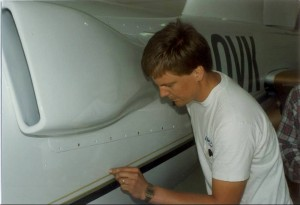Back in the early days, Dale Klapmeier checks the decal on the VK-30.