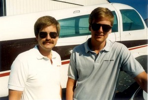This photo of the Klapmeier brothers, taken in Cirrus Design's infancy, shows a rare sight—Alan Klapmeier sporting a mustache.