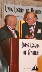 Legendary air show pilot Bob Hoover, celebrating his 85th birthday, received the Legends Freedom of Flight award, presented by good friend Gen. Chuck Yeager. Both are also National Aviation Hall of Fame enshrinees.