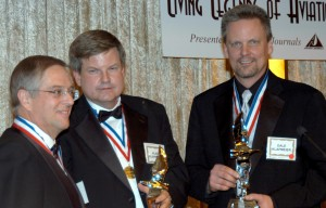 Cirrus founders Dale (right) and Alan (center) Klapmeier received the 2006 Michael A. Chowdry Aviation Entrepreneur of the Year award, presented by Vern Raburn (left), founder and CEO of Eclipse Aviation and last year's recipient.