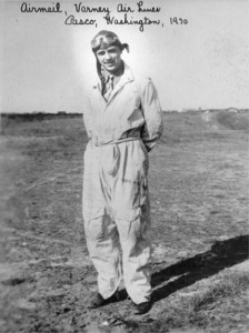 Decked out in Varney Air Lines coveralls in 1930, Jeppesen flew the U.S. air mail across the mountainous western states. The hazardous runs inspired him to keep a small notebook detailing the approaches and layouts of the primitive airfields of the day.