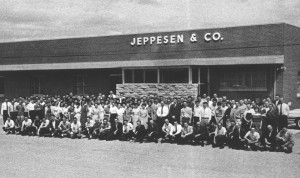 In 1961, 200 Jeppesen employees posed for a group photo. Based at Stapleton Airport, the business grew exponentially, as did the stresses and headaches of running the operation. The founder sold the company, but remained involved in its operation.