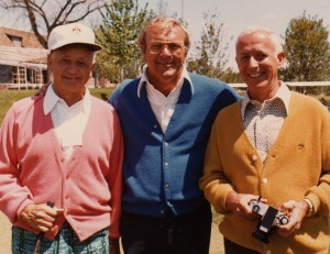 In semiretirement, Elrey Jeppesen spent much time on the golf course. He's shown in 1974, at Cherry Hills Country Club near Denver, with friend and golfing great Arnold Palmer (center) and Wayne Rosenkrans (right).