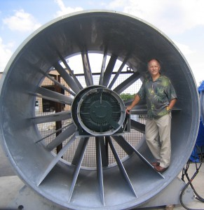 Norm Rosendale inspects one of two large fans used to levitate people.