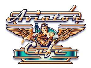 Joe Jones created the Aviator Café logo. His Rocky Mountain Regional Fly-In posters adorn the café walls.