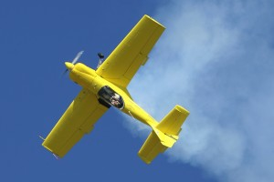 "Rob Harrison, the ""Tumbling Bear,"" performs aerobatics in his Zlin 50LX."