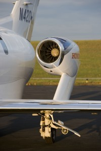 HondaJet's patented over-the-wing engine mount reduces drag at high speed and improves fuel efficiency.