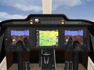The HondaJet has an advanced, customized, all-glass cockpit, based on a state-of-the-art Garmin avionics platform. Like many of the other systems, the flight control system is conventional, with standard yokes.