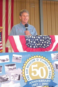 Following a flag ceremony, Steve Hinton, internationally known warbird pilot, was the first speaker.