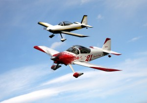The Super Six Rocket flies in formation with Captain Jim Moore's RV-8.
