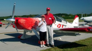 Carl and Barbara Brownd are ready to start the 2006 AirVenture Cup. The couple finished second in the EAA-sponsored cross-country race that started at Dayton-Wright Brothers Airport and finished at a private air strip near Fond du Lac County Airport.