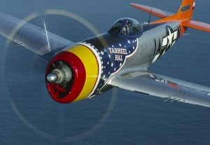 The museum's P-47, Tarheel Hal, flies with jets in the Air Force's Heritage Flight air show programs.