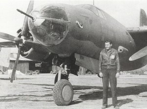 Bob Hoover was awarded the Distinguished Flying Cross for rescuing this Martin B-26 Marauder from the beach at the Messina Straits in Sicily, during World War II.