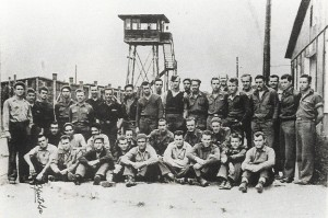 Bob Hoover (front row, fourth from right) and fellow prisoners held at Stalag 1, near Barth, Germany, during World War II.