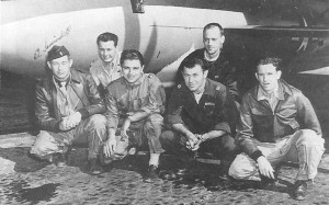 Members of the X-1 team, responsible for breaking the sound barrier, included, from left, flight engineer Ed Swindell, backup pilot Bob Hoover, B-29 pilot Bob Cardinas, X-1 pilot Chuck Yeager, Bell engineer Dick Frost and Air Force engineer Jack Ridley.