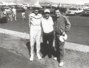 "L to R: Bob Hoover, with longtime friend and air show announcer Jim Driskell, and actor Cliff Robertson, who said Hoover performed aerobatic maneuvers like ""a mad musician at the organ."""