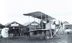 This Queen Martin biplane was at the 1911 Nassau Boulevard Air Meet. In the event's races, Harriet Quimby, America's first licensed woman pilot, competed against men.